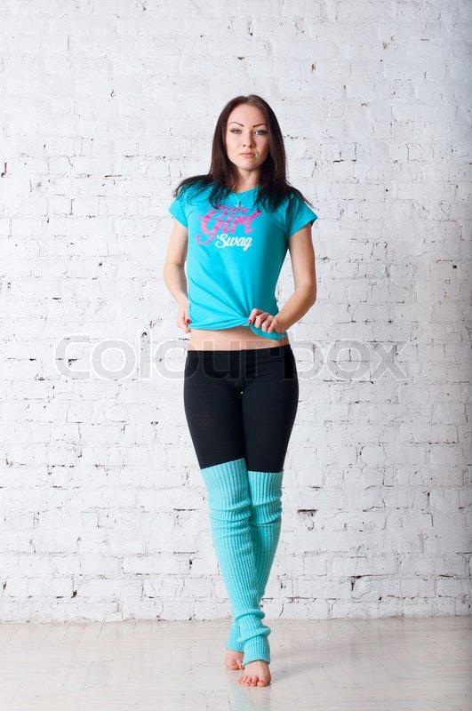 Women wearing blue pantyhose — photo 12