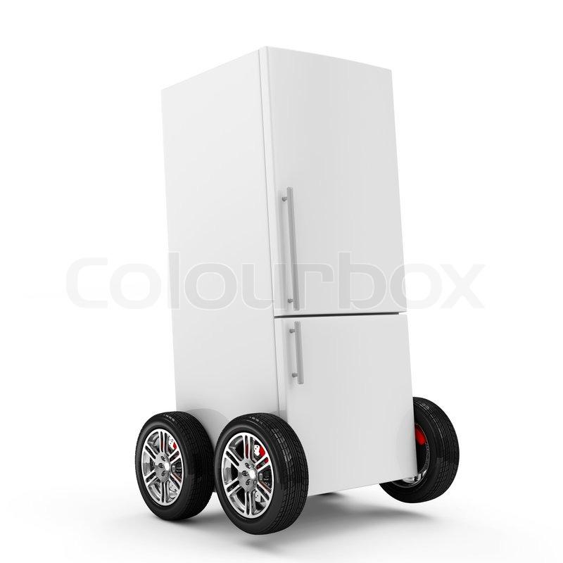 Kühlschrank auf Rädern, die isoliert auf weißem Hintergrund ...