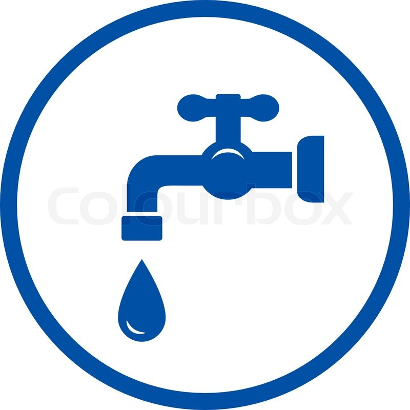 Blue Plumbing Round Icon With Faucet And Drop In Frame