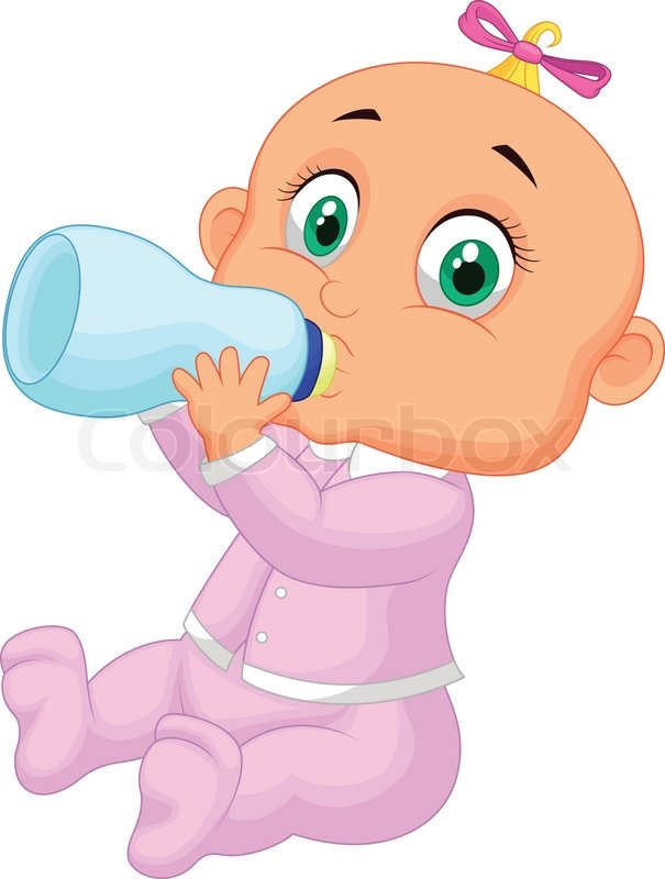Stock vector of 'Vector illustration of Baby girl cartoon drinking ...