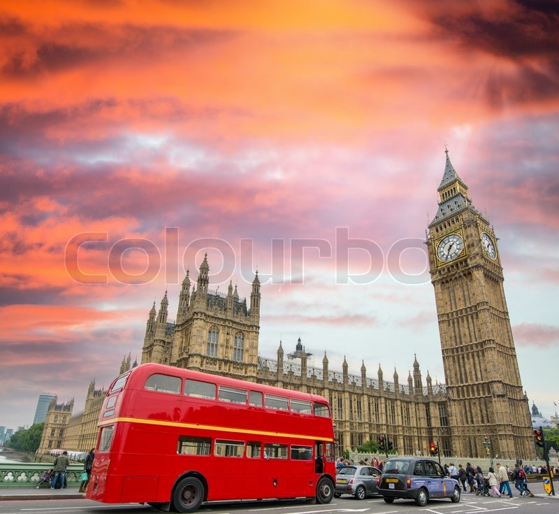 Editorial image of 'Red Double Decker Bus under Big Ben and Westminster Bridge.'