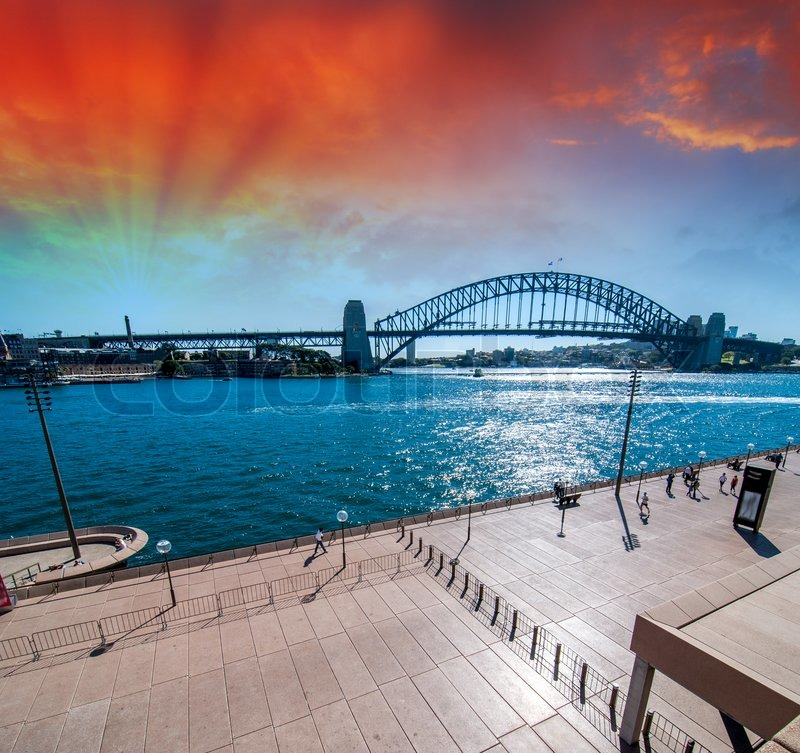 Editorial image of 'Sydney. The Harbour Bridge at dusk.'