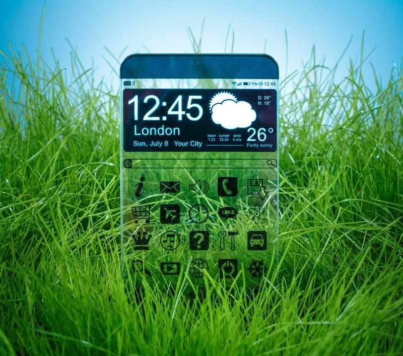 Stock image of 'Futuristic Smart phone (phablet) with a transparent display on blue sky background. Concept actual future innovative ideas and best technologies humanity.'