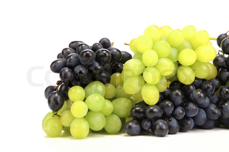 Stock image of 'Bunch of white and black grapes. Isolated on a white background.'