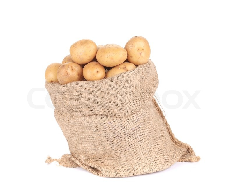 Stock image of 'Ripe potatoes in burlap sack. Isolated on a white background.'
