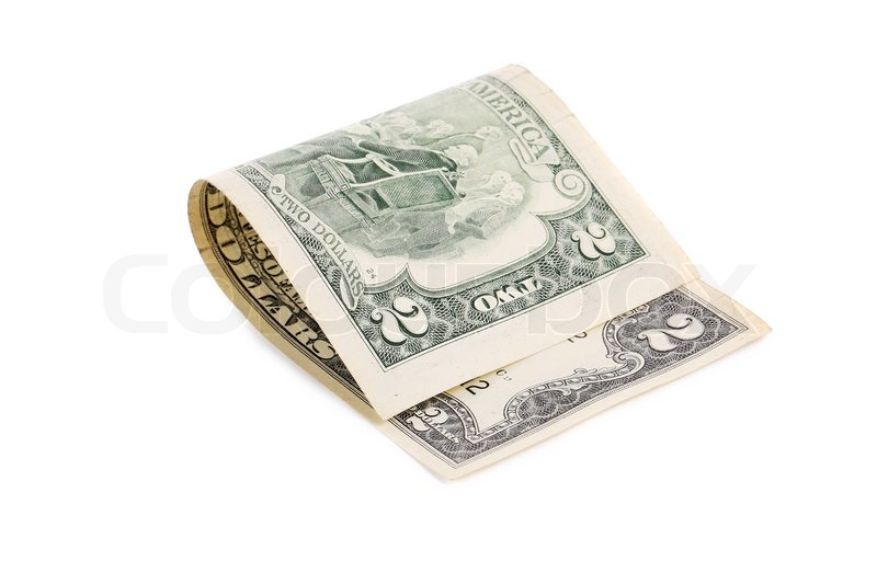 Stock image of 'Two dollars bill. Isolated on a white background.'