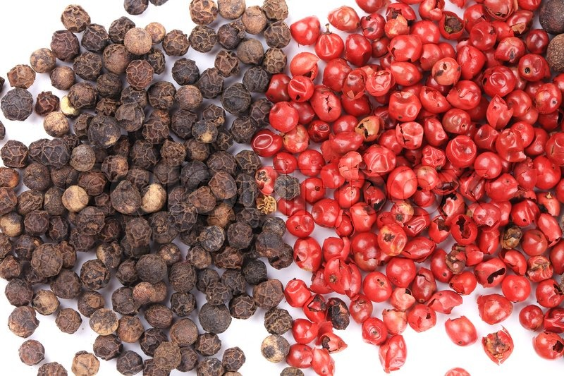 Stock image of 'Peppercorn mix. Isolated on a white background.'