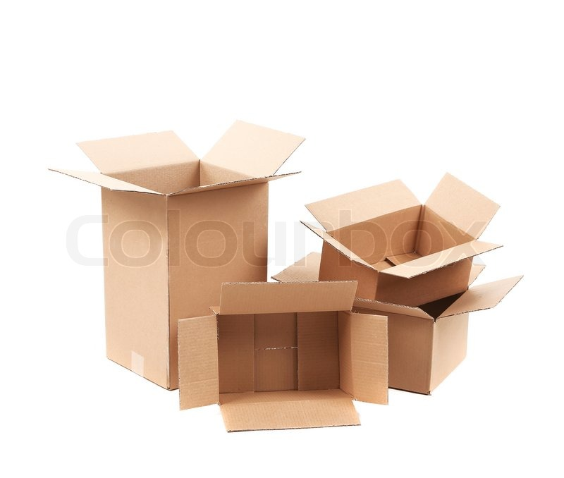 Stock image of 'Opened cardboard boxes. Isolated on a white background.'