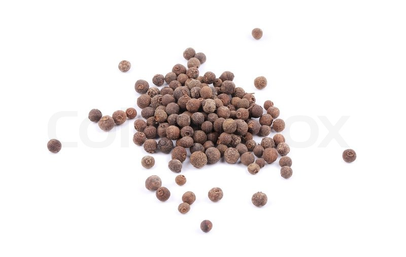 Stock image of 'Black peppercorn. Isolated on a white background.'