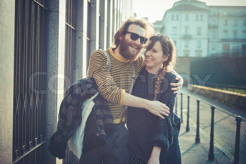 Stock image of 'young modern stylish couple urban city outdoors'
