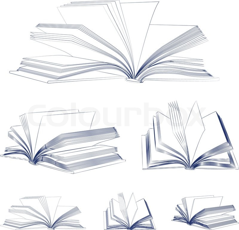 Open Book Cover Drawing : Open book sketch set isolated on white stock vector