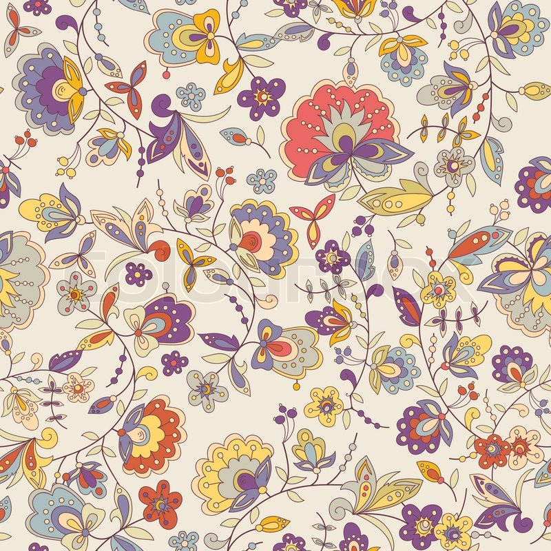 Cute Colorful Floral Seamless Pattern ...