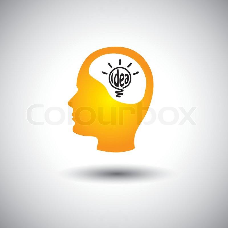 Human Face Brain With Idea Bulb