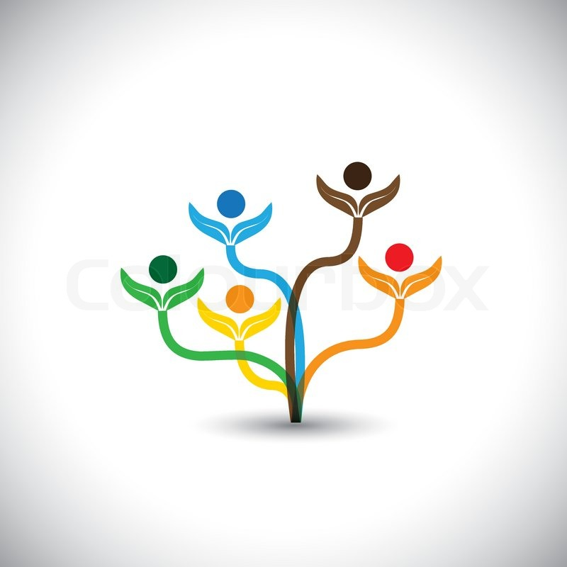Eco Vector Icon Family Tree And Teamwork Concept This Graphic