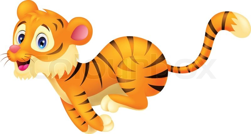 Tiger Cartoons Ausgeführt Stock Vektor Colourbox