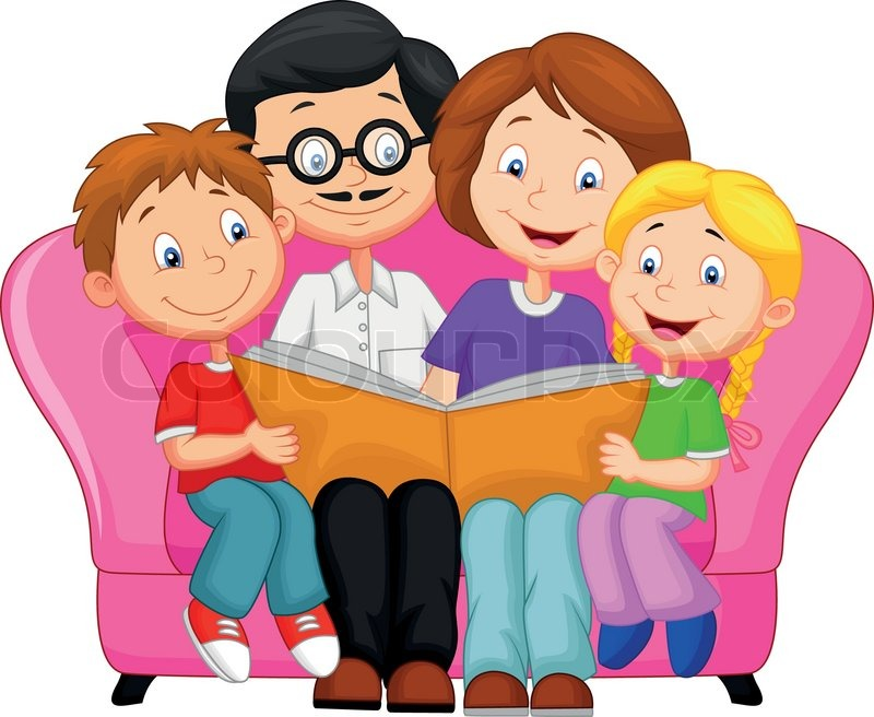 Vector illustration of Happy family cartoon reading book  : 800pxCOLOURBOX9442704 from www.colourbox.com size 800 x 656 jpeg 92kB