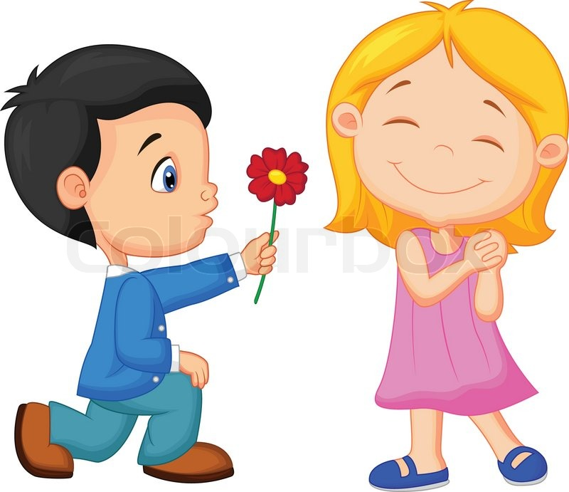 vector illustration of cartoon little boy kneels on one knee giving rh colourbox com cartoon girl and boy love images cartoon girl and boy drawing