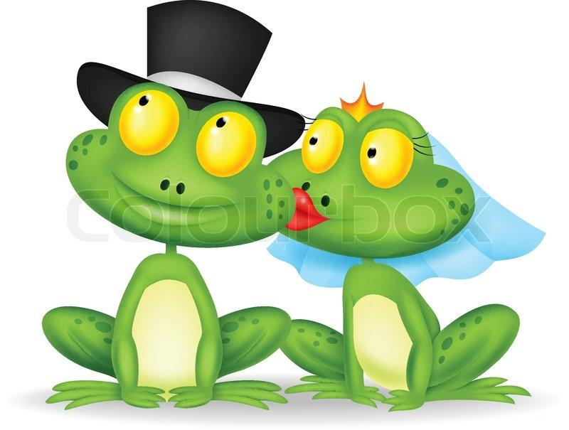 Verheiratete Frosch Cartoon küssen   Vektorgrafik   Colourbox