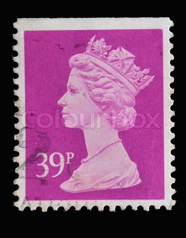Editorial image of 'UNITED KINGDOM - CIRCA 1971 : postage stamp printed in United Kingdom showing Portrait of Queen Elizabeth II in red, circa 1971.'