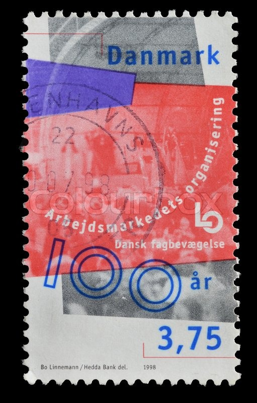 Editorial image of 'DENMARK - CIRCA 1998 : postage stamp printed in Denmark shows the social organization of Danish Trade Unions, circa 1998'
