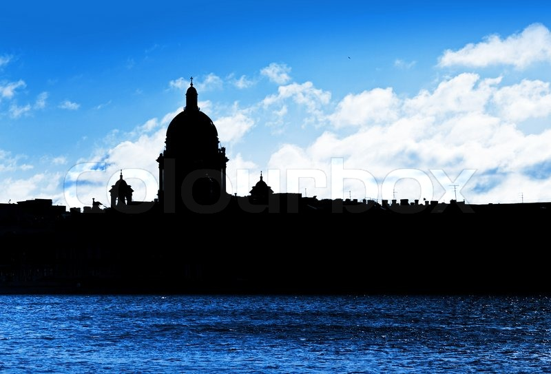 Stock image of 'Black cityscape silhouette of St.Petersburg, Russia'
