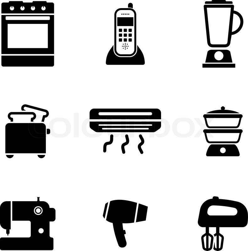Hand Mixer Silhouette ~ Home appliance icons set with on oven telephone