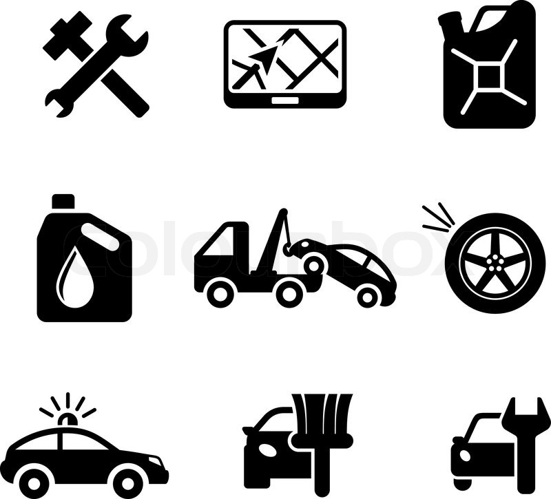 Set Of Car Service And Automobile Icons Including Tools Road Sign