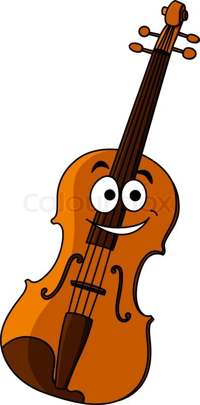 smiling happy classical wooden violin for music performances and rh colourbox com cartoon violin sound effect cartoon violin images