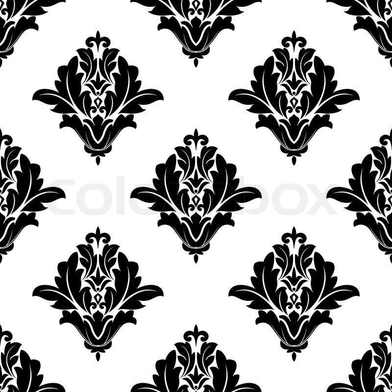 Black And White Design Background Black And White Damask Seamless Pattern For Textile or Background Design