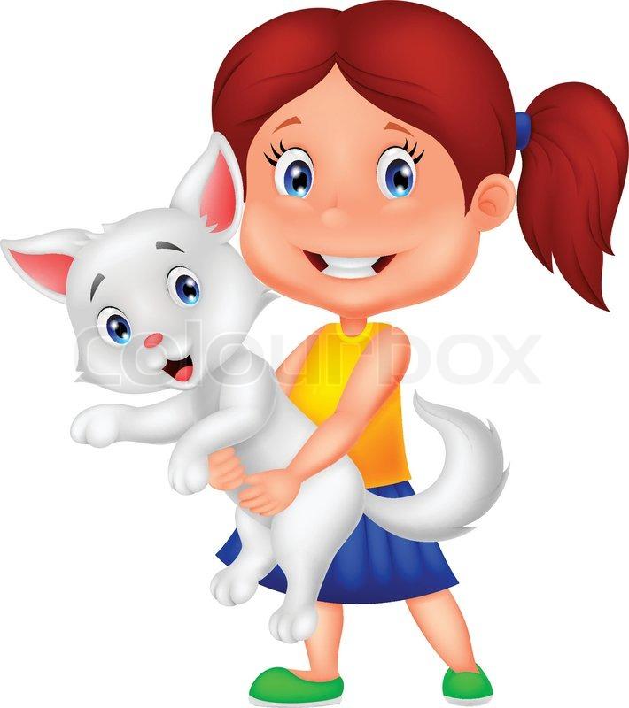 Vector illustration of Happy cartoon little girl hugging ...