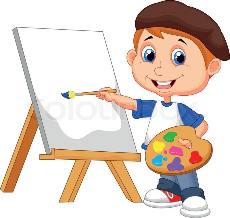 Cartoon Junge Malerei Vektorgrafik Colourbox