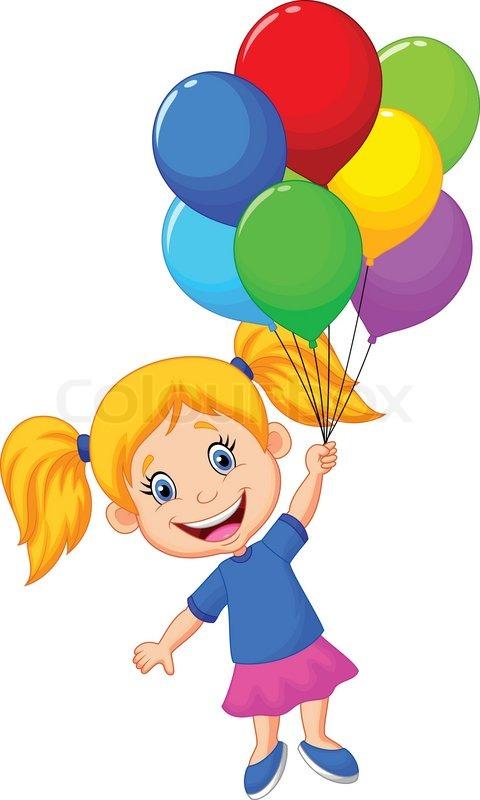 Stock-Vektor von 'Junges Mädchen Cartoon mit Ballon fliegen'