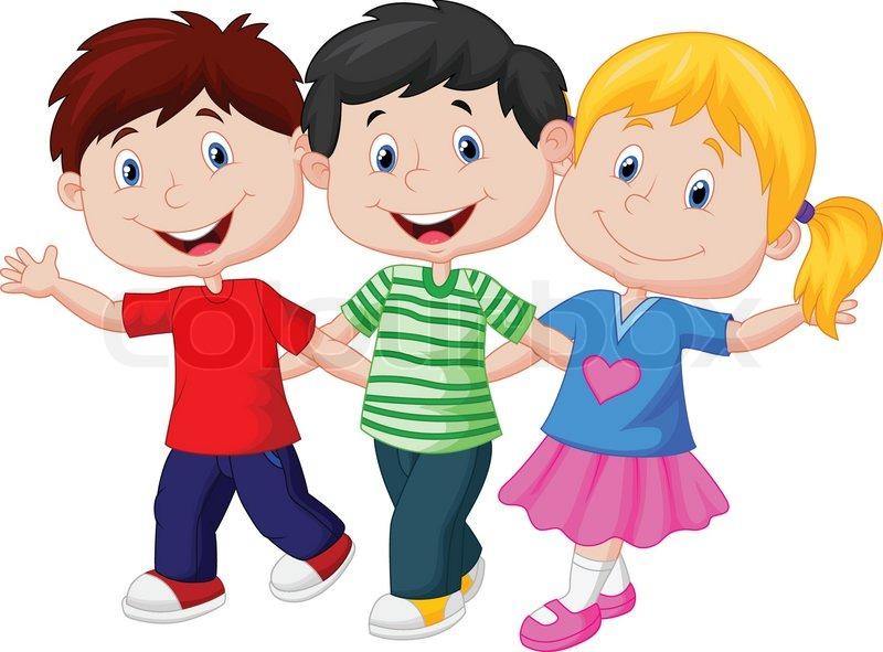 Vector illustration of Happy young children cartoon ...