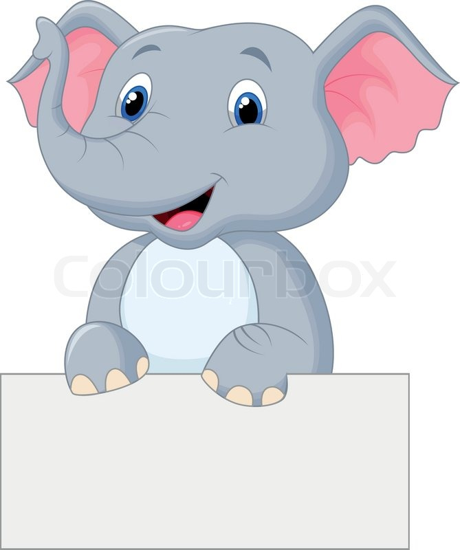 Niedliche Elefanten Cartoon leere Schild | Vektorgrafik ...