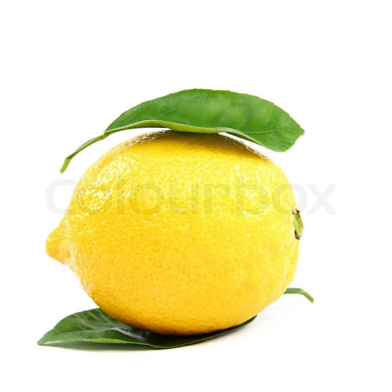 Stock image of 'Fresh lemon with green leaves, isolated on a white background.'
