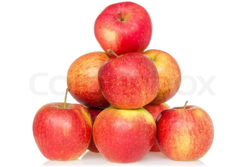 Stock image of 'Pyramid of red apples isolated on white background'