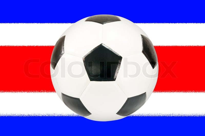 Stock image of 'soccer ball with Costarica flag background'