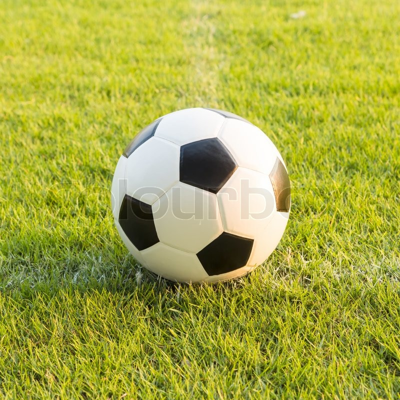 Stock image of 'soccer ball on green grass '