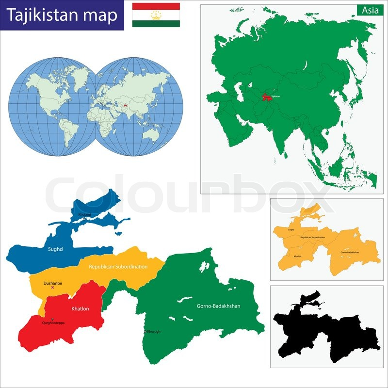 Map of administrative divisions of Tajikistan | Stock Vector | Colourbox