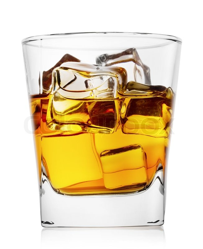 Stock image of 'Glass of whiskey with ice isolated on white background'