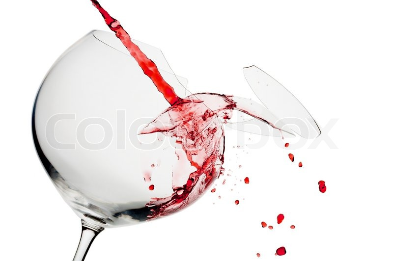 Stock image of 'view of broken wine glass  getting filled with red wine'