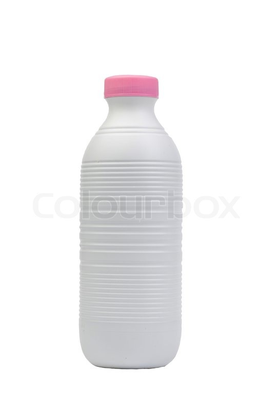 Stock image of 'Plastic milk bottle isolated on white background'
