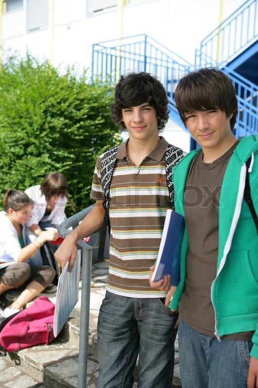 Stock image of 'Teenage boys at school'