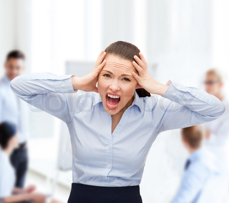 Business, office and stress concept - angry screaming businesswoman, stock photo