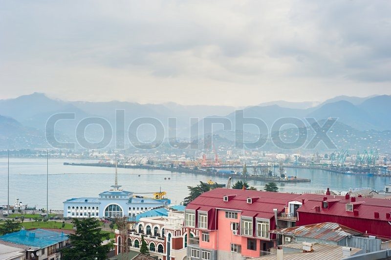Stock image of 'Aerial view of Batumi port , Georgia with mountains on background'