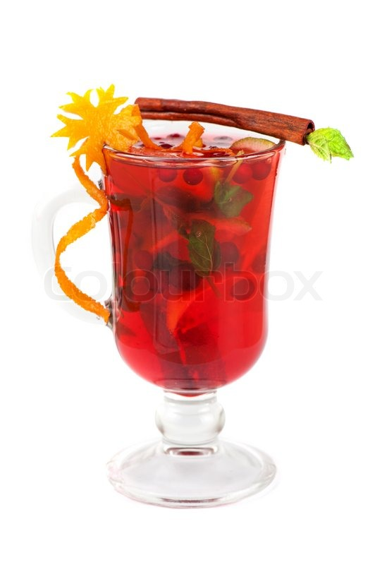 Stock image of 'Hot red mulled wine isolated on white background'