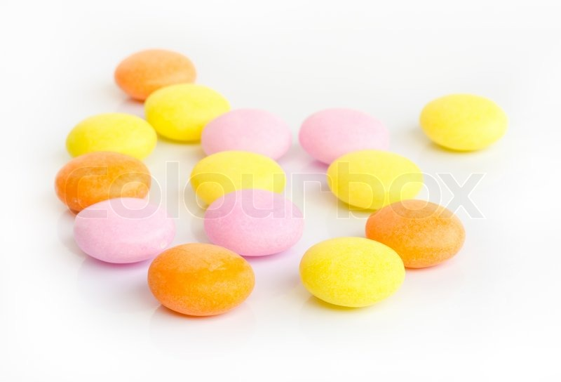 Stock image of 'sweet color candy  on white background .'