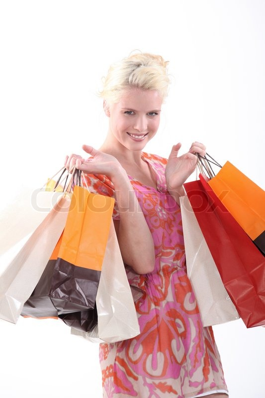 Stock image of 'Woman with shopping bags'