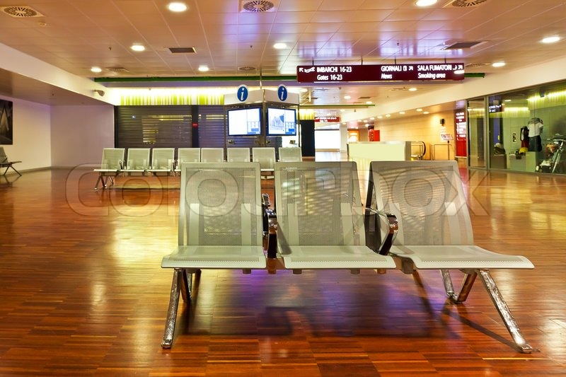 Stock image of 'Interior view of waiting hall of departures area in Orio al Serio International airport (aka Bergamo airport) in Italy.'