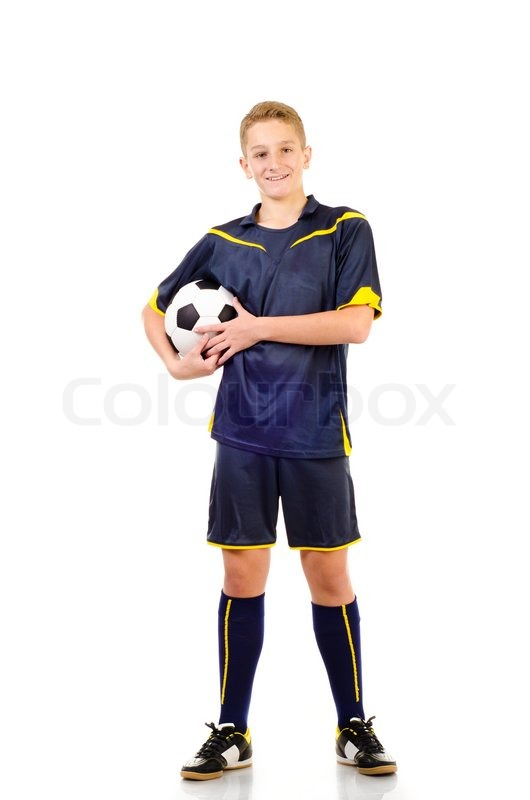 Stock image of 'soccer player isolated on a white background'